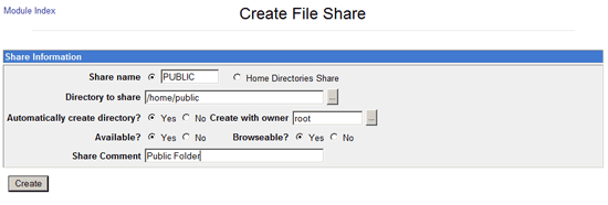 Create a New Samba Share