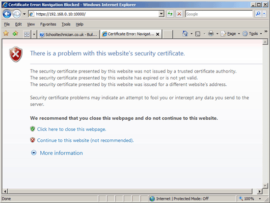 Internet Explorer Certificate Warning