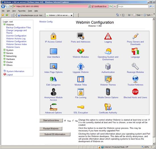 Webmin Configuration module