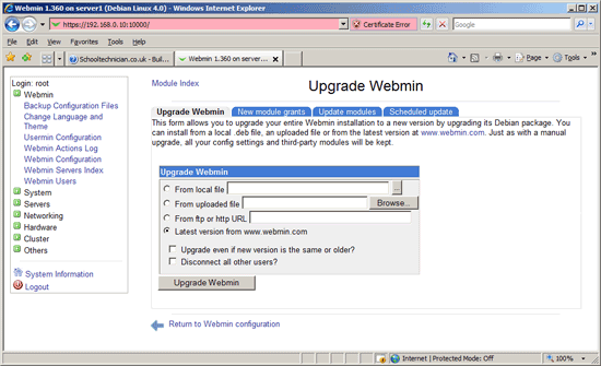 Webmin Self Upgrade